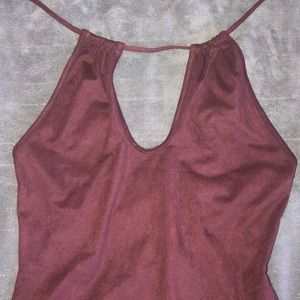 Tops - Burgundy key hole bodysuit